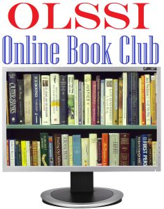 """OLSSI Online Book Club"" written above shelves of books."